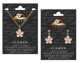 EARRING & NECKLACE SET, FLOWER GOLD