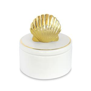Porcelain Gold Shell Keepsake Box