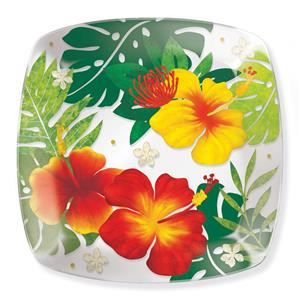 Glass Dessert Plate, Floral Monstera