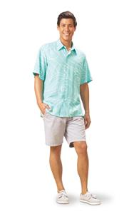 Ocean Waves Aqua/Mint Kai Mens Classic Shirt (Large)