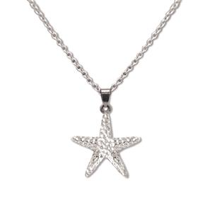 Charm Necklace, Starfish - Silver