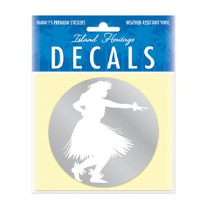 Decal Small Oblong, Hula Kahiko White