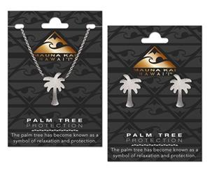 EARRING & NECKLACE SET, CHARM PALM TREE SILVER