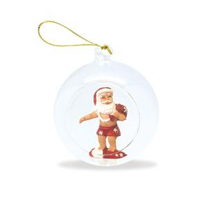 Glass Globe Ornament, Surfing Santa