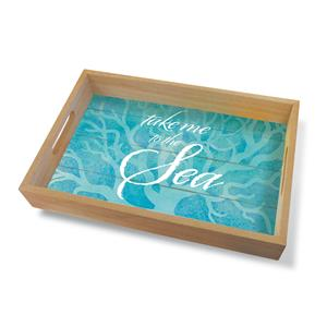 Coastal Wood Tray Large, Take Me to the Sea