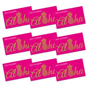 2021 Pocket Calendar, Aloha Pineapple - Pink (Case of 24)