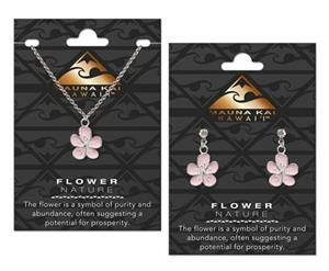 EARRING & NECKLACE SET, CHARM FLOWER SILVER