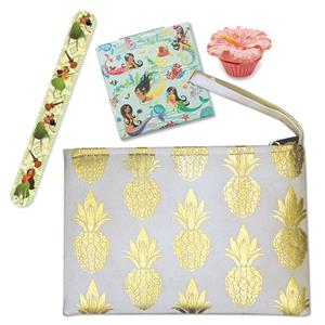 Cream Metallic Pineapple Clutch with Beauty Set