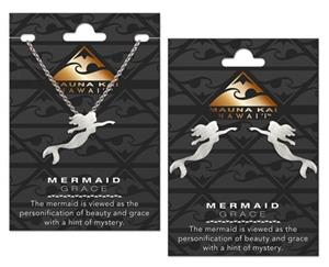 EARRING & NECKLACE SET, CHARM MERMAID SILVER
