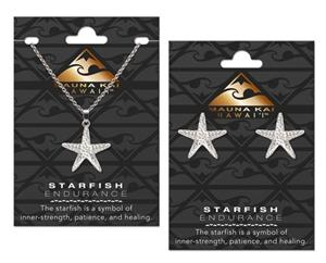 EARRING & NECKLACE SET, STAR FISH SILVER