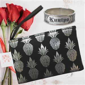 Silver Metallic Clutch & Kuuipo Hawaiian Bracelet Set