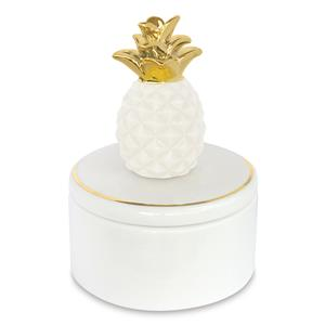 Porcelain Pearl White Pineapple Keepsake Box